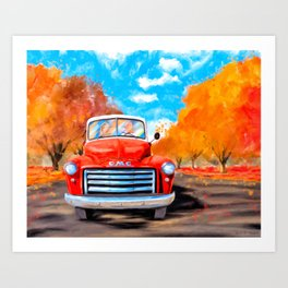 Old Red Truck On A Clear Fall Day Art Print