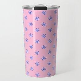 Brandeis Blue on Cotton Candy Pink Snowflakes Travel Mug