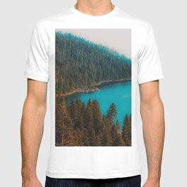Pine tree and lake view at Emerald Bay Lake Tahoe California USA T-shirt