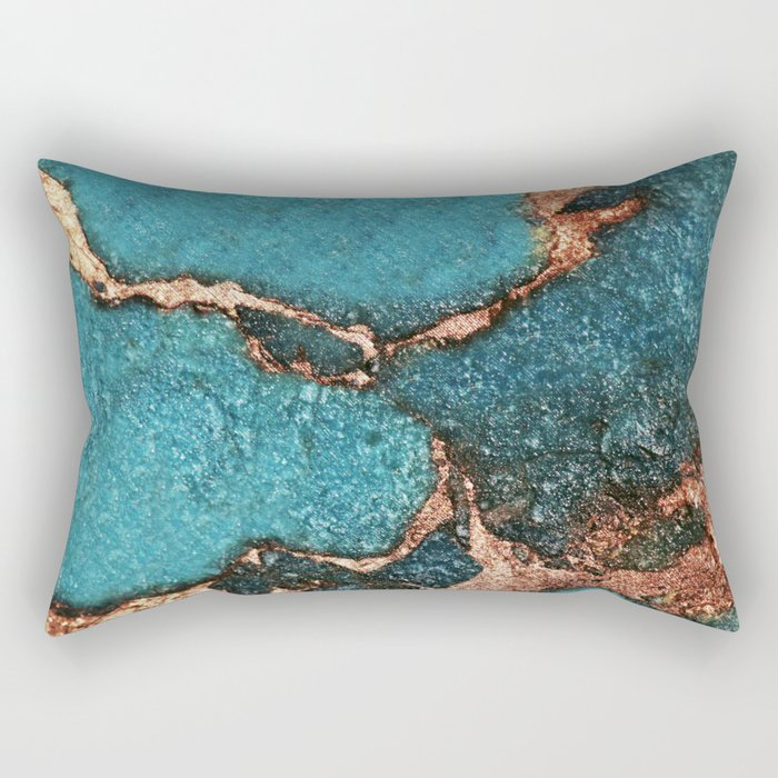 GEMSTONE  & GOLD AQUA Rectangular Pillow