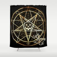 pentagram Shower Curtains featuring Cult of the Great Pumpkin: Pentagram by Chad Savage