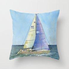 Woman Skipper Race 2015 Throw Pillow