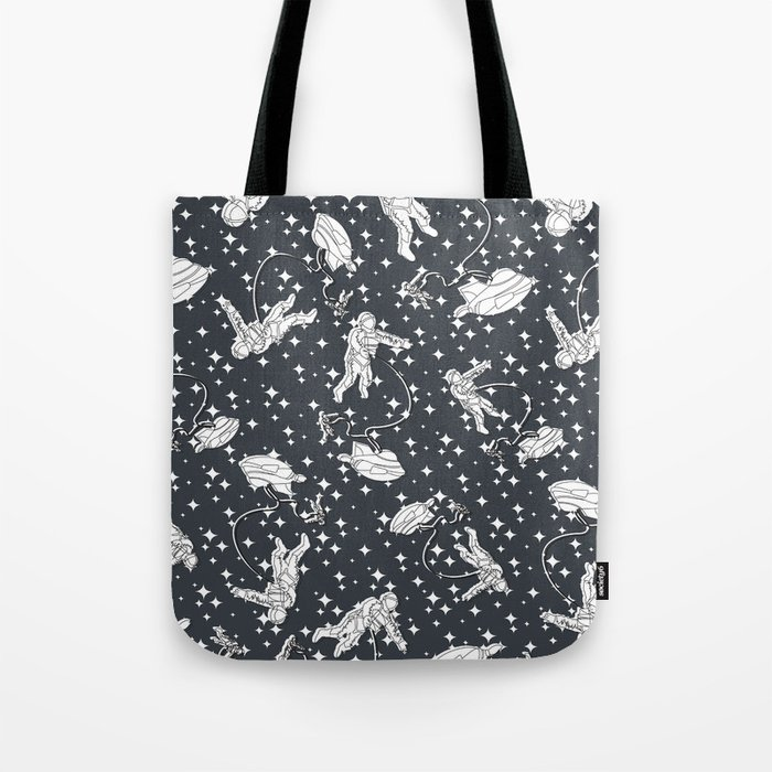 Astronaut, spaceship within a cluster of stars Tote Bag