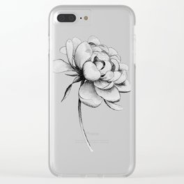 Peony Flower, Black and White Clear iPhone Case