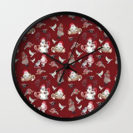 Red Gnome Pattern - Christmas Wall Clock
