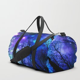 black trees purple blue space copyright protected Duffle Bag