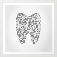 tooth Art Prints featuring Tooth by aleksander1