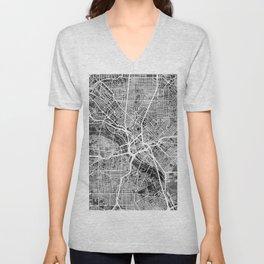 Dallas Texas City Map Unisex V-Neck