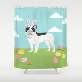 French Bulldog easter spring dog breed gifts pure breed frenchies white with black coat Shower Curtain