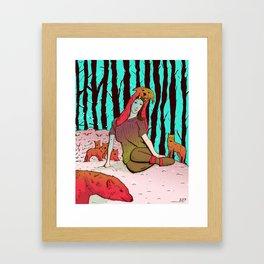 A women's among wolves Framed Art Print