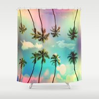 palm trees Shower Curtains featuring Palm trees  by mark ashkenazi