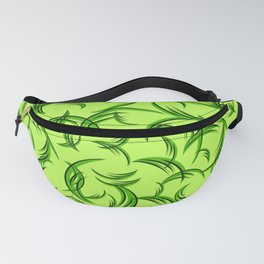 Green floral ornament of leaves and foliage. Fanny Pack