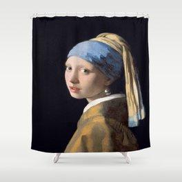 Vermeer, Girl with a Pearl Earring,Meisje met de parel,La joven de la perla Shower Curtain