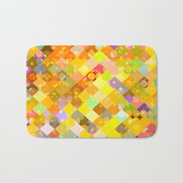 geometric square pixel and circle pattern abstract in yellow orange red blue Bath Mat