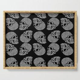 Skull doodle pattern - white on black - trippy art Serving Tray