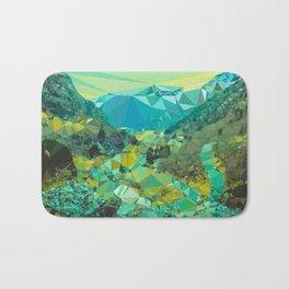 Mountain Village Landscape Low Poly Geometric Triangles Bath Mat