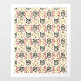 White Bengal Tiger Pattern, White Background Art Print