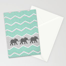 Three Elephants - Teal and White Chevron on Grey Stationery Cards