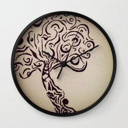 Ink Doodle Eyeball Tree Wall Clock