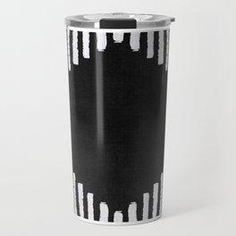 Diamond Stripe Geometric Block Print in Black and White Travel Mug