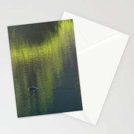 turtle swimming away at Trojan pond, near Goble, Oregon Stationery Cards