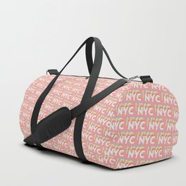 NYC, New York, USA Trendy Rainbow Text Pattern (Pink) Duffle Bag