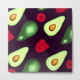 Avocados & Raspberries Metal Print