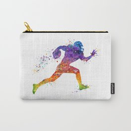 American Football Player Sports Art Colorful Watercolor Art Gift Football Player Gift Sports Decor Carry-All Pouch