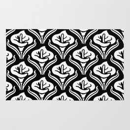 Calla Lily Pattern Black & White Rug