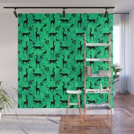 Animal kingdom. Black silhouettes of wild animals. African giraffes, leopards, cheetahs. snakes, exotic tropical birds. Tribal primitive ethnic nature green grunge distressed pattern. Wall Mural