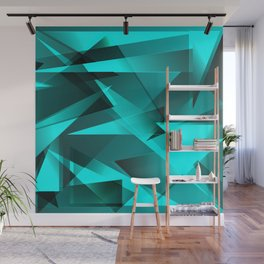 Ice blue mirror shards of glass. Wall Mural