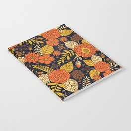 Retro Orange, Yellow, Brown, & Navy Floral Pattern Notebook