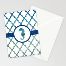 Seahorse: Tropical Water Moroccan Pattern Stationery Cards