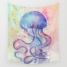 Jellyfish Watercolor Wall Tapestry