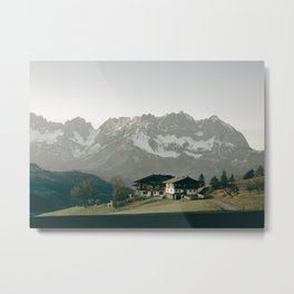 House with Mountain View | Landscape Photography Alps | Print Art Metal Print