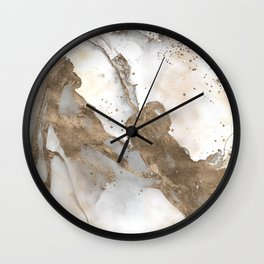 Liquid marble - pearl and gold Wall Clock