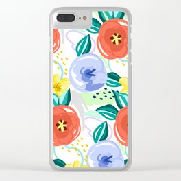 Flowers red pattern Clear iPhone Case