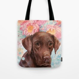 Flowers and Chocolate (chocolate lab dog watercolor portrait painting) Tote Bag
