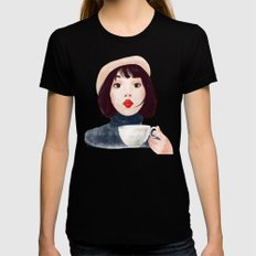 French woman with coffee Black MEDIUM Womens Fitted Tee
