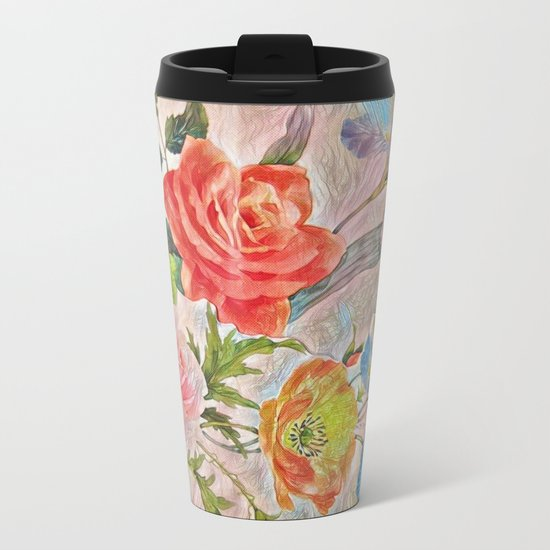 Spring Floral - Painterly Metal Travel Mug