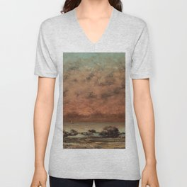 The Black Rocks at Trouville Gustave Courbet Painting Unisex V-Neck