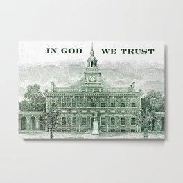 cash money old Ben 100 bucks dollars  us currency  in God we Trust  Metal Print