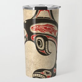 Red and Black Haida Spirit Killer Whale Travel Mug
