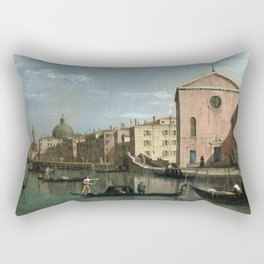 Venice, The Grand Canal facing Santa Croce by Follower of Canaletto Rectangular Pillow