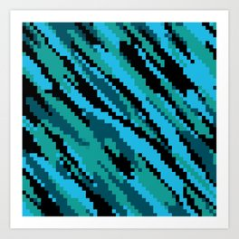 Blue green and black abstract Art Print