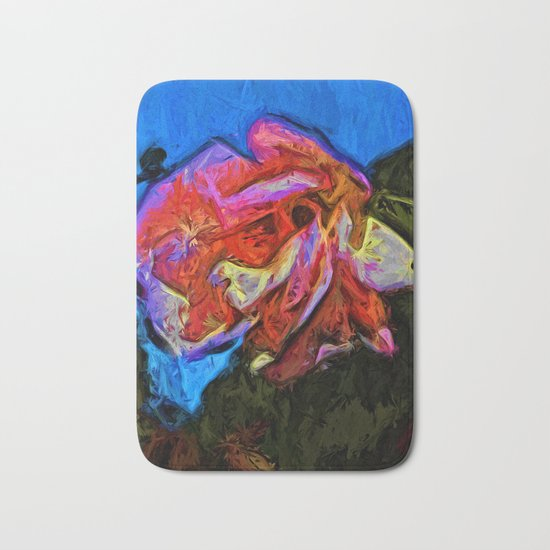 Wild Pink and Orange Rose under the Blue Sky Bath Mat