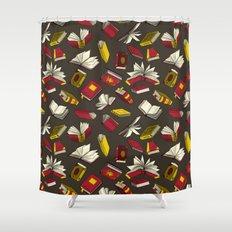 Spellbooks, maroon Shower Curtain