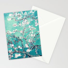 Vincent Van Gogh Almond Blossoms Turquoise Stationery Cards