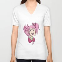 madoka V-neck T-shirts featuring Madoka the Magical Girl by Michelle Rakar
