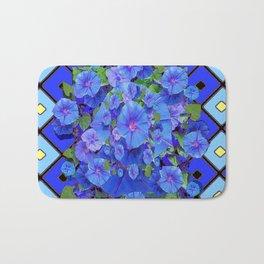 Shades of Blue Diamond Patterns Morning Glories Art Bath Mat